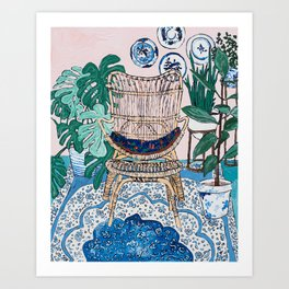 Wicker Chair and Delft Plates in Jungle Room Art Print