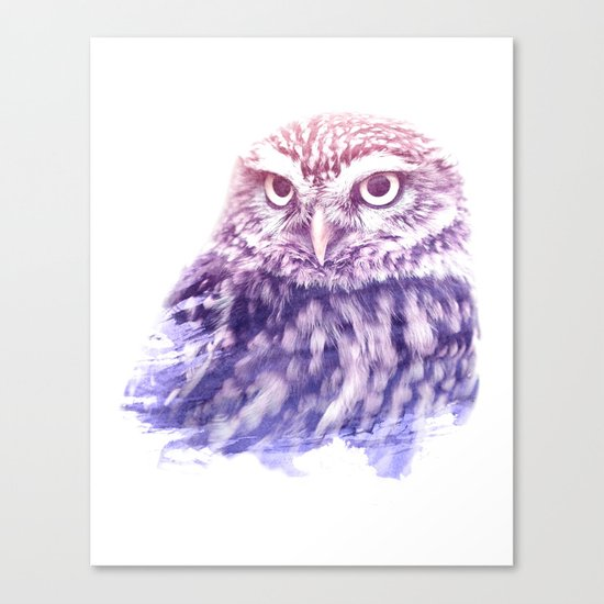 OWL SUPERIMPOSED WATERCOLOR Canvas Print