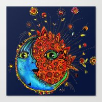 sun and moon Canvas Prints featuring Sun-Moon by Aubree Eisenwinter
