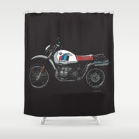 bmw Shower Curtains featuring BMW R80GS PD | DARK by Ernie Young