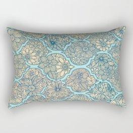 Moroccan Floral Lattice Arrangement - aqua / teal Rectangular Pillow