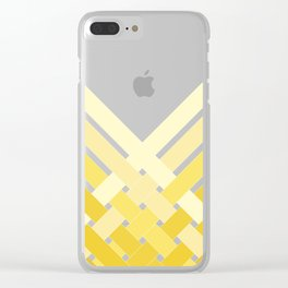 Yellow Ombre Stripes Clear iPhone Case