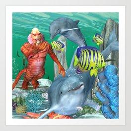 Funny sea life Art Print