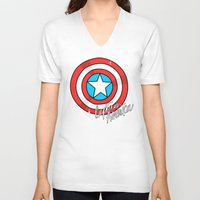 shield V-neck T-shirts featuring Shield by Chelsea Herrick