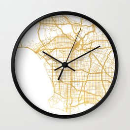 LOS ANGELES CALIFORNIA CITY STREET MAP ART Wall Clock