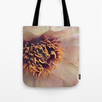 peony Tote Bags featuring peony by inourgardentoo