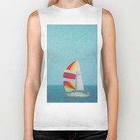 sailboat Biker Tanks featuring Bright Sailboat by Pure Nature Photos