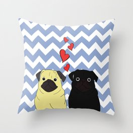 Chevron Pug Throw Pillow