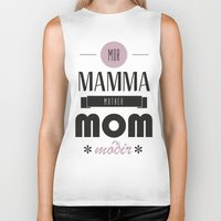 mom Biker Tanks featuring Mom by Lilian Lund Jensen