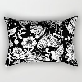 Moth & Flowers Witchy Goth Pattern Rectangular Pillow