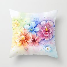 Flowers Watercolor Floral Colorful Rainbow Painting Throw Pillow
