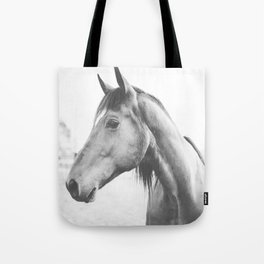 bw horse, equestrian, black and white horse, thoroughbred Tote Bag