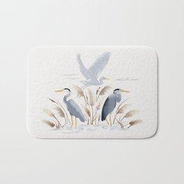 Great Blue Heron on White Bath Mat