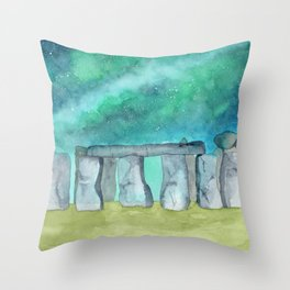 Stonehenge Galaxy watercolor Throw Pillow
