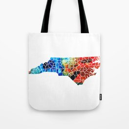 North Carolina - Colorful Wall Map by Sharon Cummings Tote Bag