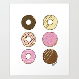 Colorful Donuts Print | Digital Art Print | Illustration | Kitchen Home Wall Art Decor | Pink White Art Print