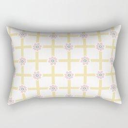 1950s Style Flower Daisy Gingham Seamless Pattern Rectangular Pillow
