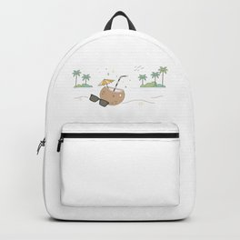 Sipping Coconut Water And Relaxing On The Beach Backpack