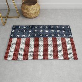 USA American Flag Rustic Jute Style 4th July Decor Rug