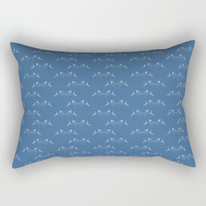 Blue Fish Pattern Rectangular Pillow