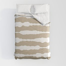 Macramé Stripes Minimalist Pattern in White and Neutral Flax Comforters