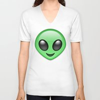 emoji V-neck T-shirts featuring Alien Emoji by Nolan Dempsey