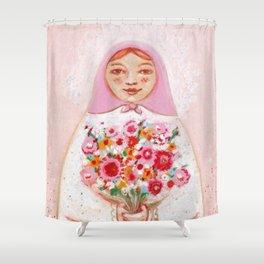 Matryoshka with flowers Shower Curtain