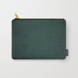 Forest Green Tooled Leather Carry-All Pouch
