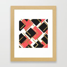 Chic Coral Pink Black and Gold Square Geometric Framed Art Print