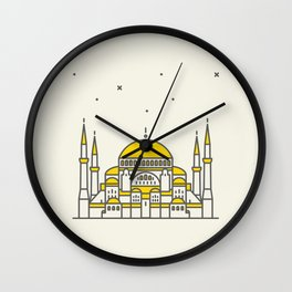 Hagia Sophia icon and vector. City travel landmark, tourist attractions in Istanbul Wall Clock