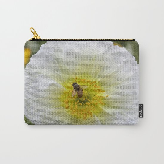 White Poppy with Bee Carry-All Pouch