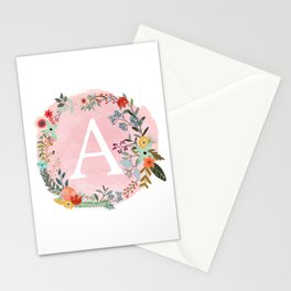 Flower Wreath with Personalized Monogram Initial Letter A on Pink Watercolor Paper Texture Artwork Stationery Cards