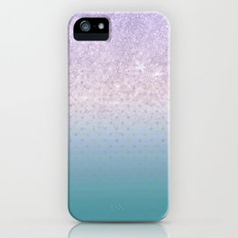 Modern faux lilac glitter teal purple ombre polka dots iPhone Case