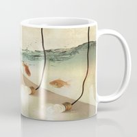 andreas preis Mugs featuring ideas and goldfish by Vin Zzep