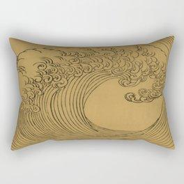 Vintage Golden Wave Rectangular Pillow