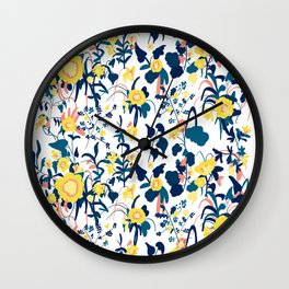 Buttercup yellow, salmon pink, and navy blue flowers on white background pattern Wall Clock
