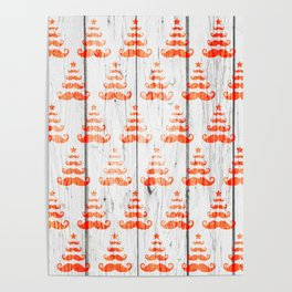 Christmas Trees Pattern on Wood Poster