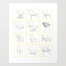 Mid Century Chairs Art Print