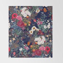 Midnight Garden VI Throw Blanket