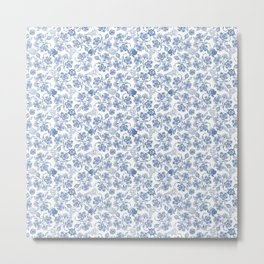 Pretty Indigo Blue and White Ethnic Floral Print Metal Print