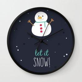 Christmas Let It Snow Snowman Print Wall Clock