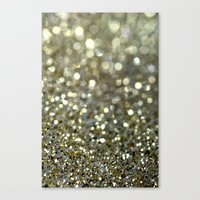 gold glitter Canvas Prints featuring Gold Glitter by Hannah