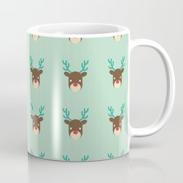 Cute deer pattern Christmas decorations retro colors light green background Coffee Mug