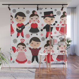 Spanish flamenco dancer. Kawaii cute face with pink cheeks and winking eyes. Gipsy Wall Mural