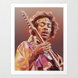 Jimi Hendrix Guitar God Art Print