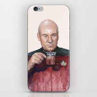 picard iPhone & iPod Skins featuring Tea. Earl Grey. Hot. Captain Picard Star Trek   Watercolor by Olechka