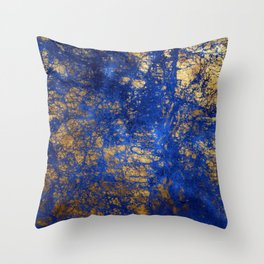Blue Moon and Rose Gold Faux Marble Pattern Throw Pillow