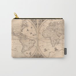 Vintage Map of The World (1650) Carry-All Pouch