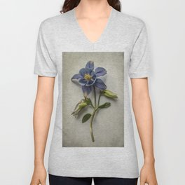 Pretty Dark Blue Columbine Unisex V-Neck
