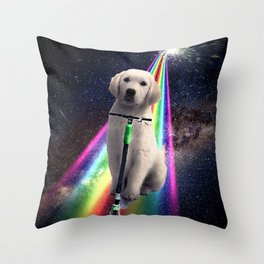 Space Galaxy Dog On Scooter Rainbow  Throw Pillow